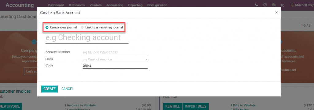 Odoo 12 002 - Accounting new journal link to existing journal