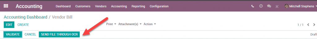 Odoo 12 005 - Accounting send through OCR optical character recognition