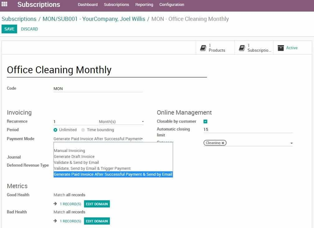 Odoo 12 012 - Subscription module enhancement