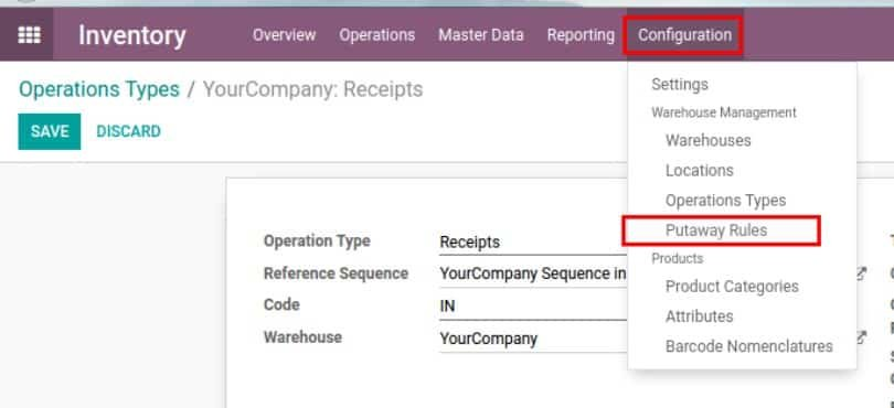 Odoo inventory management