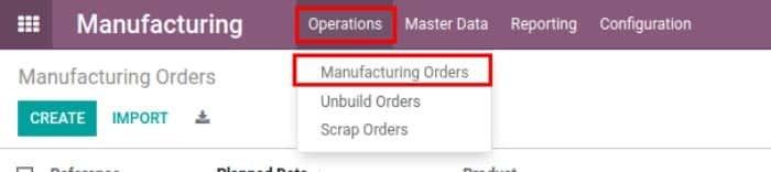 odoo manufacturing module